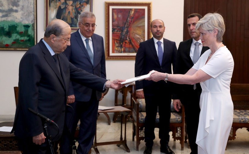 President Michel Aoun receives the credentials of the Ambassador of Iceland Ms Unnur Ramette.