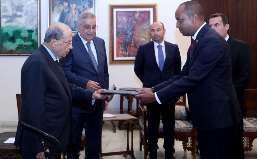 President Michel Aoun receives the credentials of the Ambassador of Rwanda  Fidelis Ntampaka Mironko.