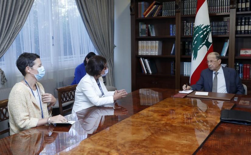 President Michel Aoun Meets UN Deputy Special Coordinator for Lebanon Ms. Najat Rochdi