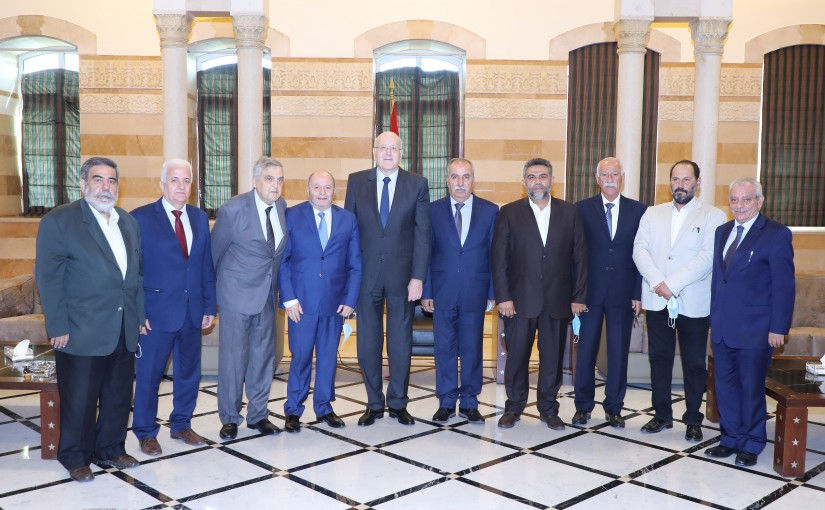 Pr Minister Najib Mikati meets a Delegation from Lebanese Labour