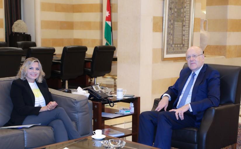 Pr Minister Najib Mikati meets Mrs Claudine Aoun