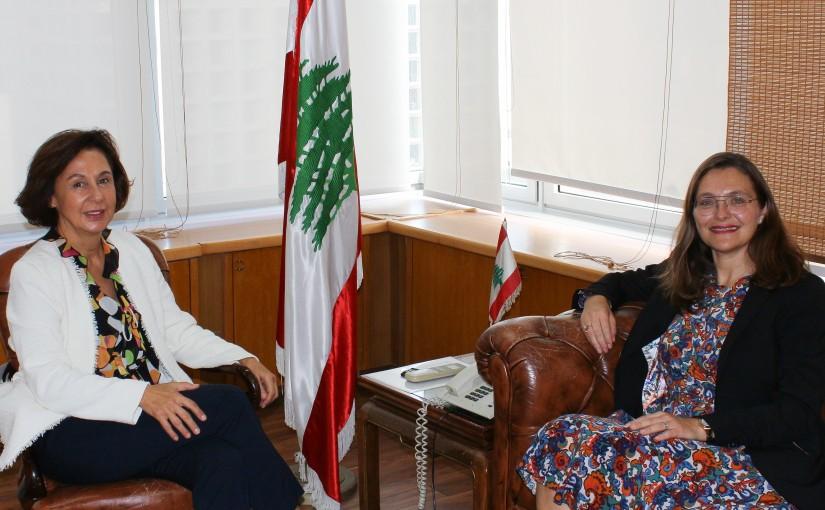 Minister Najla Riachi meets Denmark Ambassador