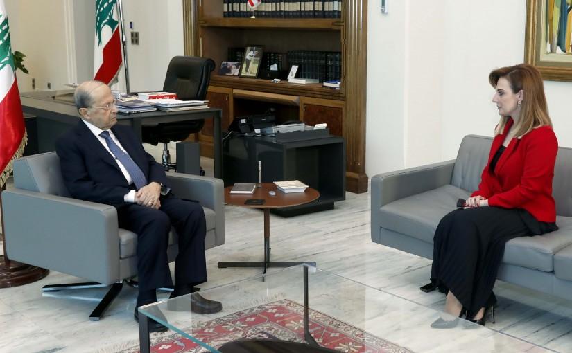 President Michel Aoun meets Former Minister Vartine Ohanian