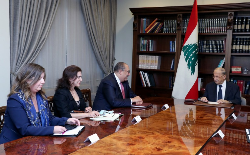 President Michel Aoun meets Dr. Mahmoud Mohiedine with delegation (IMF)