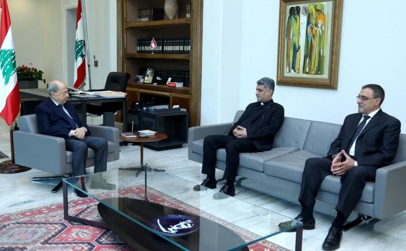 President Michel Aoun meets Father Ziad Haddad & Dr. Nikola Hajjar