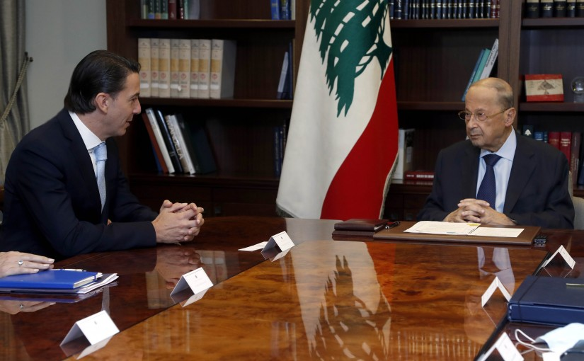 President Michel Aoun received the new American mediator in the negotiation process to demarcate the southern maritime border, Ambassador Amos Hochstein