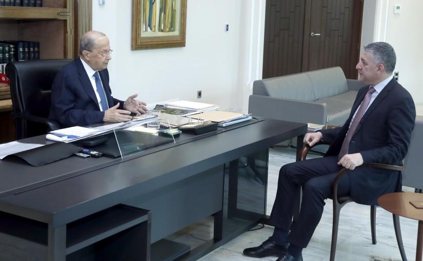 President Michel Aoun meets  MP George Attalah.