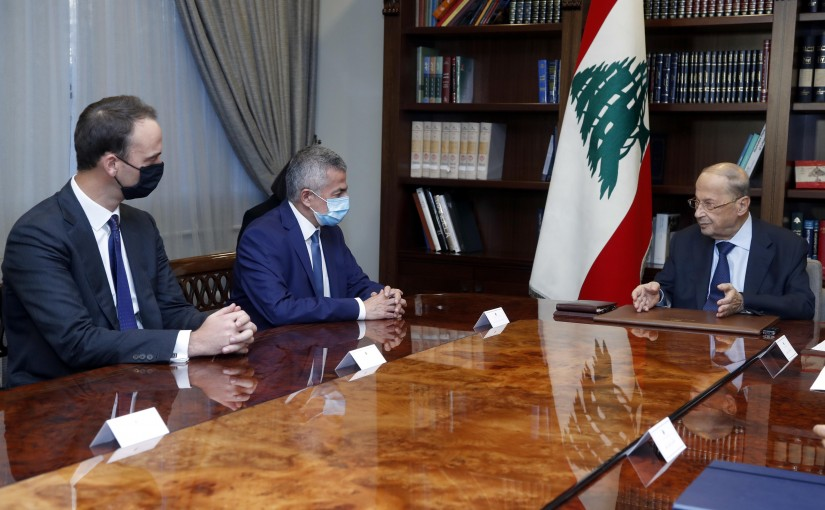 President Michel Aoun meets Minister Youssef Khalil with a delegation Alvarez & Marsal.