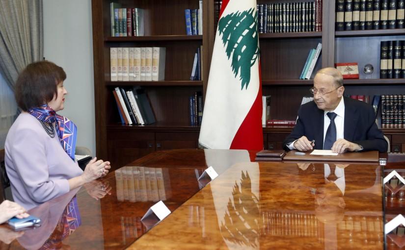 President Michel Aoun meets Ms. Joanna Wronecka (UN).