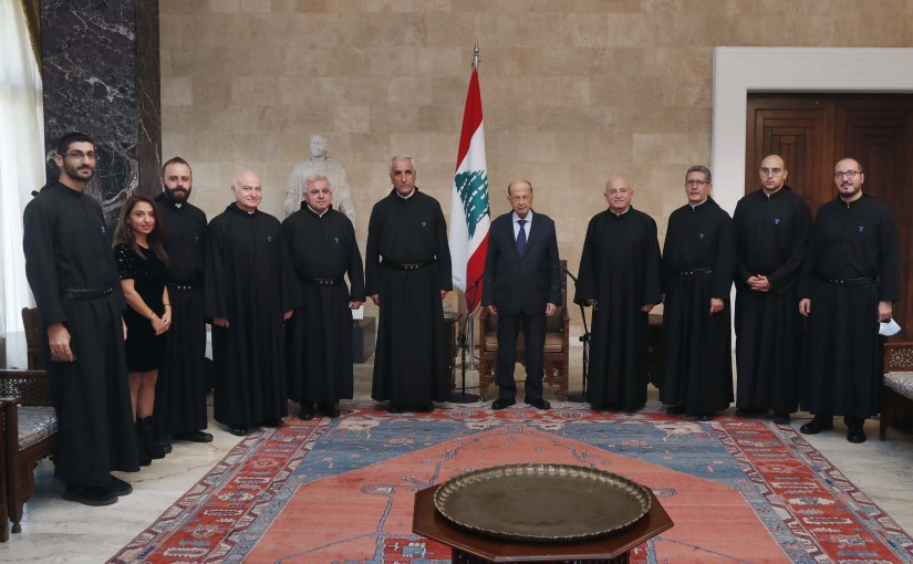 President Michel Aoun meets Father Nader Nader with a delegation.