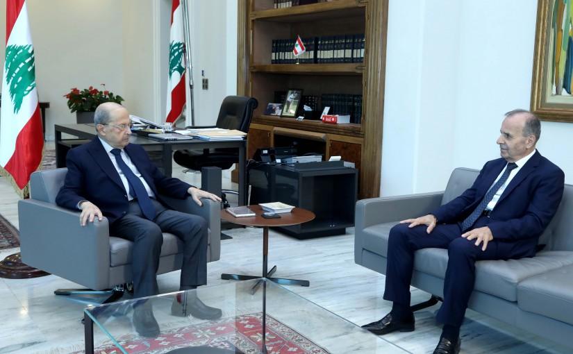 President Michel Aoun meets Judge Tannouss Mechleb