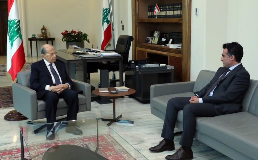 President Michel Aoun meets Minister Ali Hamiyeh