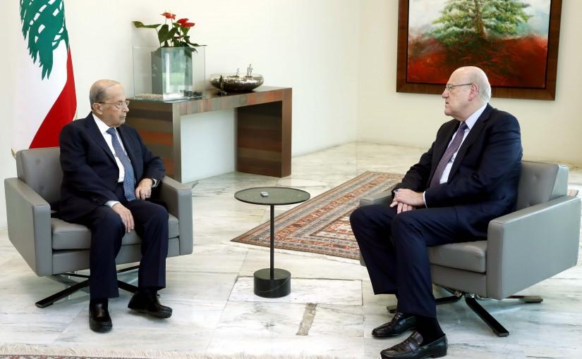 President Michel Aoun meets PM Najib Mikati.
