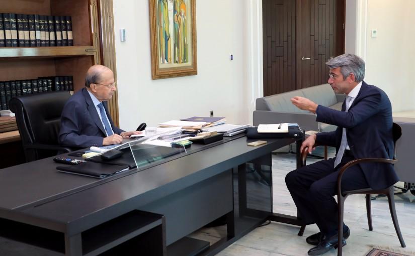 President Michel Aoun meets Minister Walid Fayad