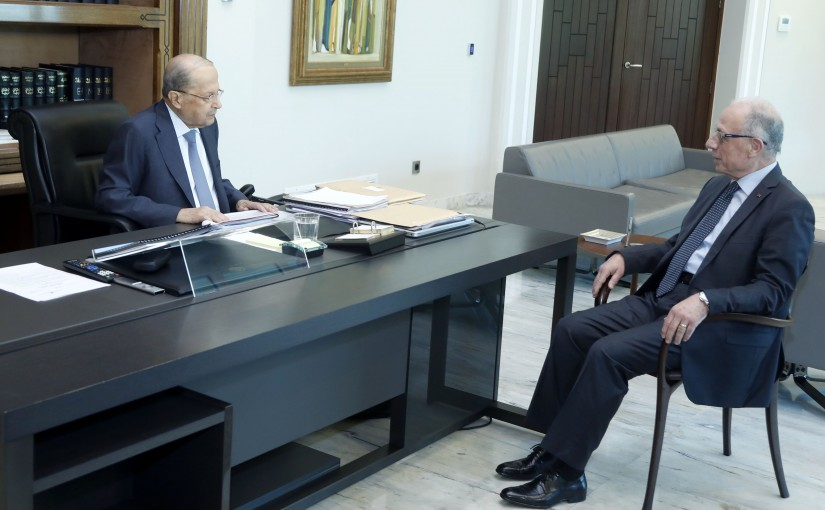 President Michel Aoun  meets General Maurice Slim Minister Of Defense.