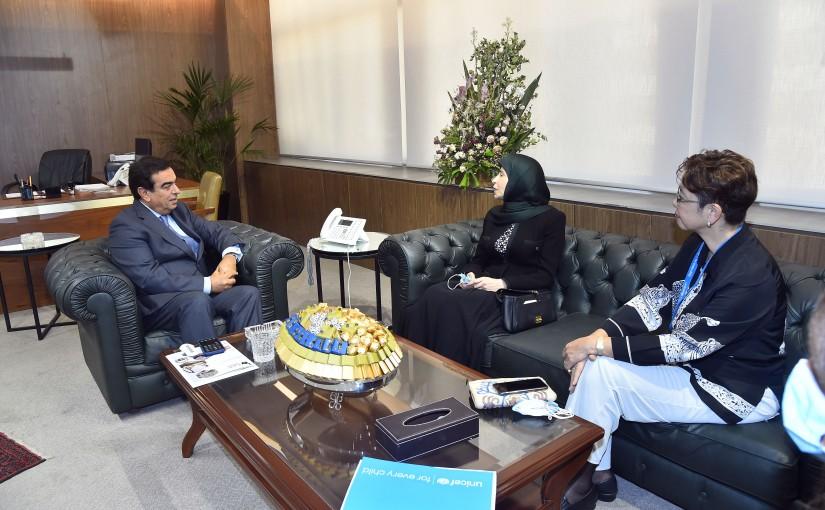 Minister George Kordahi meets MP Inaya Ezzedine