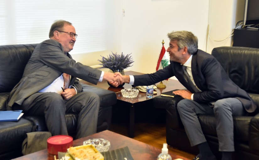 Minister Walid Fayad meets Mr Pierre Dusquenne