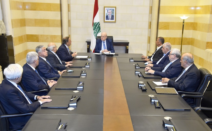 Pr Minister Najib Mikati meets a Delegation from Construction Syndicate