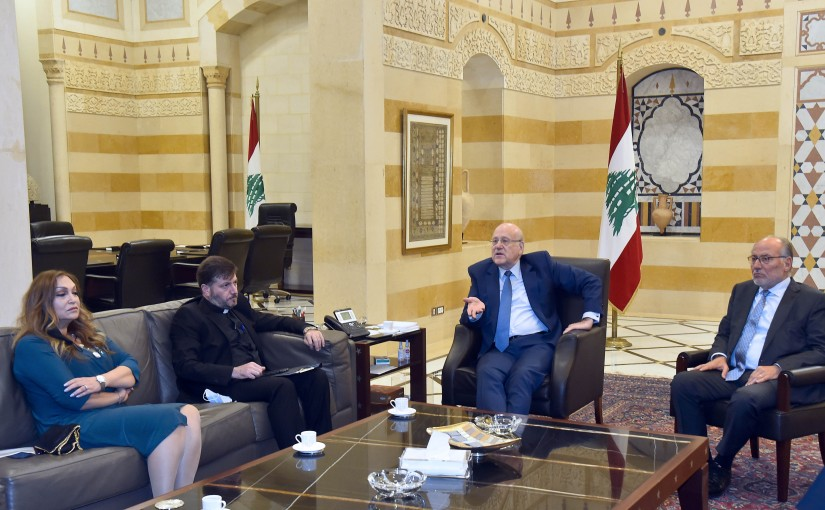 Pr Minister Najib Mikati meets Father Youssef Nasser with a Delegation