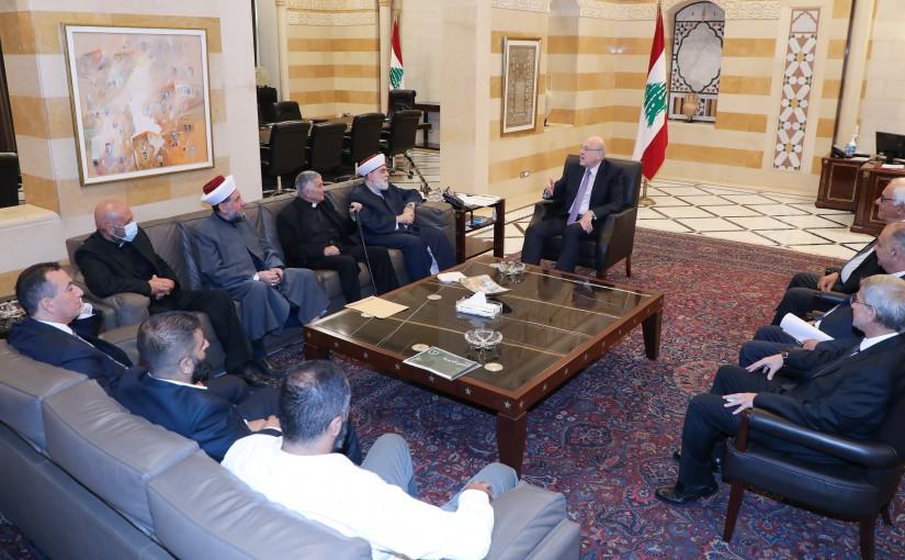 Pr Minister Najib Mikati meets a Delegation from EM El Nour