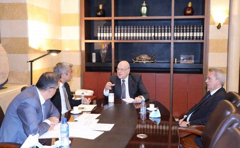 Pr Minister Najib Mikati meets Minister Walid Fayad with a Delegation