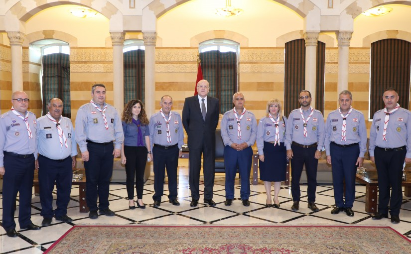 Pr Minister Najib Mikati meets a Delegation from Lebanese Scout