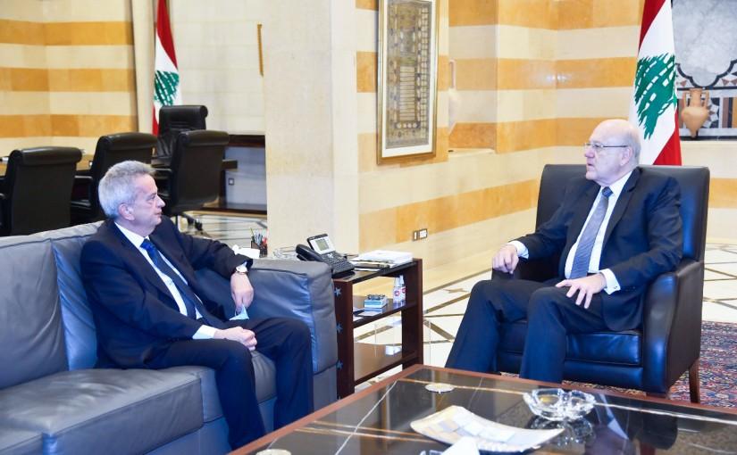 Pr Minister Najib Mikati meets Mr Riyad Salameh