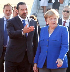 Pr Minister Saad Hariri Receiving Chancellor Angela Merkel at Rafic Hariri Airport