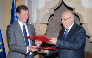 Signing Agreement Between Minister Rachid Derbes & French Ambassador 2