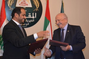 Signing Agreement Between Minister Wael Abou Faour & Emirates Ambassador 4 - Copy